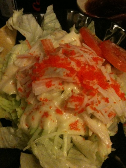 Kani salad. This is also good, but I only eat occassionaly and with minimum dressing (mayo) as possible.