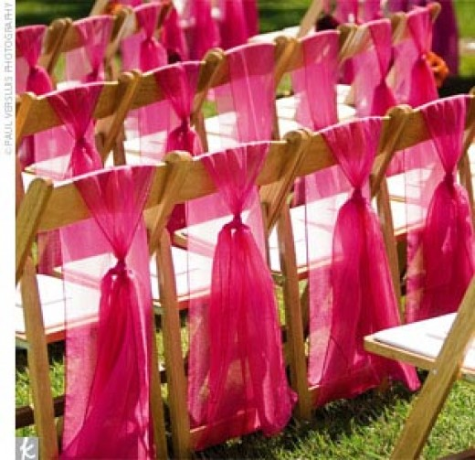 Wedding Ceremony Chair Decor Ideas Pink
