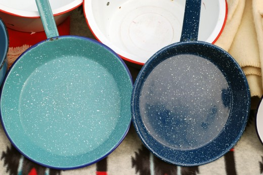 Pans can also have a colored coating which doesn't affect the cooking.