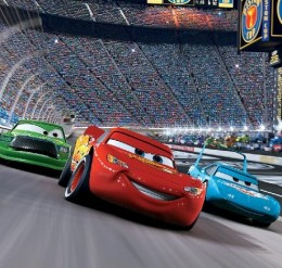 up the track in this amazingly colorful Disney Cars wall mural