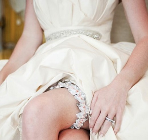 Bride Wearing Garter Made From Recycled Plastic Bottles