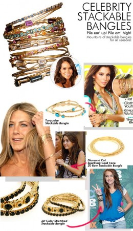 Stackable Bangle Collage with Jennifer Aniston