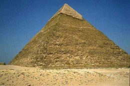 Khufu, the largest of the famous three pyramids in Cairo, Egypt