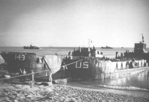 Landing craft on manouevres at Slapton Sands during World War Two.