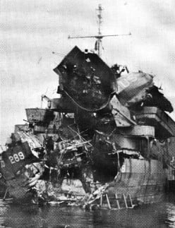 A destroyed landing craft of Operation Tiger