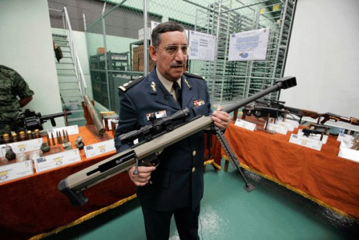 Picture of Gen. Antonnio E. Monsivais holding weapon allowed by US into Mexico