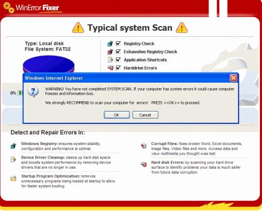 WinFixer Internet Explorer Scam