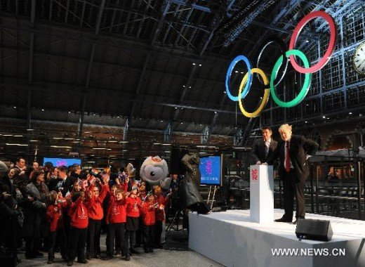 Qlympic Rings aloft in St Pancreas Railway Station London