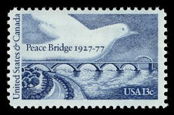 1977 US postage stamp honoring the 50th anniversary of the Peace Bridge