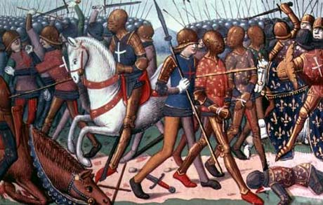 Agincourt - some French prisoners being dragged off and the English Army looking well pleased with themselves.