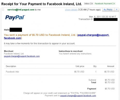 Paypal Statement on Facebook Preapproved Payment
