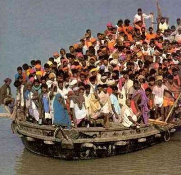 Refugees flee the communist allies of John Lennon in Vietnam.