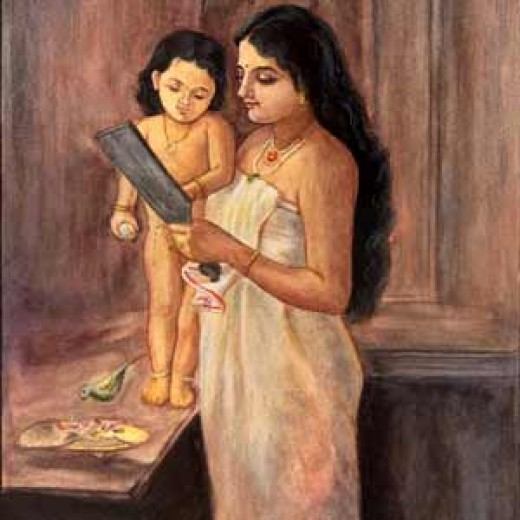 Mother and child- Indian Miniature painting