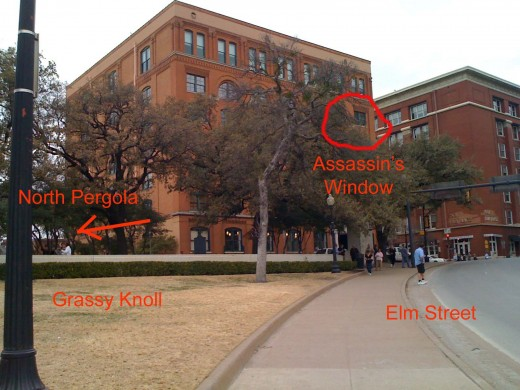 6th Floor Museum in Dealey Plaza.  The Grassy Knoll is on the lower left.  Elm Street is on the lower right.