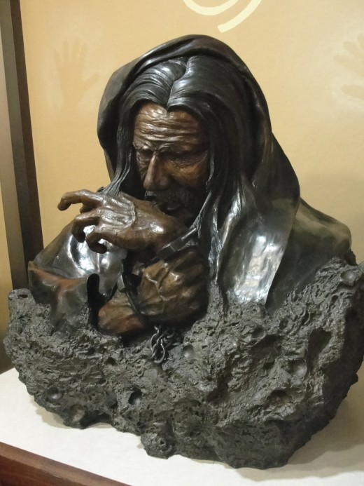 Joseph Macy's Sculpture of Sitting Bear's escape from his shackles by chewing off his own skin. This sculpture is currently in the Favell museum in Klamath Falls, OR