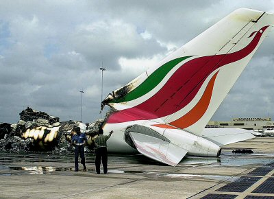 Completely destroyed A 340 Airbus