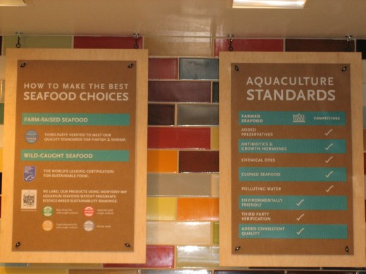 Whole Foods uses the Monterey Bay Aquarium standards to inform customers about whether the fish it sells is considered safe and ethical to eat.