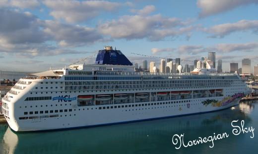 Norwegian Sky cruise ship. Taken while we were on Norwegian Dawn in Miami, Florida.