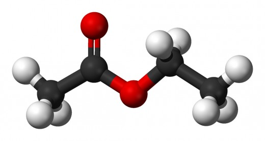 Ethyl ethanoate (also known as ethyl acetate) is an example of a organic molecule.