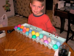 Here are some of our eggs one year, that we were taking to a larger get together to have an Easter Egg hunt!