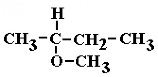 The main hydrocarbon chain is 4 carbons long, and the oxygen connecting to another chain is on the 2nd carbon. The small chain is 1 carbon long: 2-methoxybutane