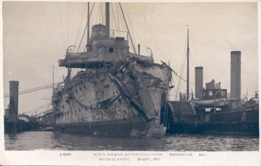 Bow Damage to HMS Hawke
