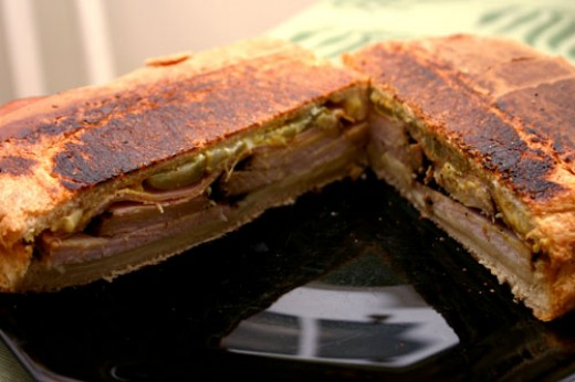 Cuban sandwich, grilled and pressed with ham, pickles, and Swiss ...