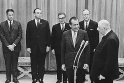 President Richard Nixon and staff with President Charles de Gaulle, 1969