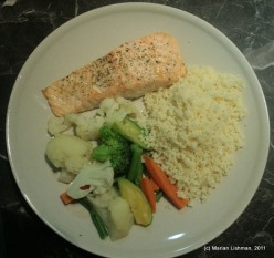 Oven Baked Salmon With Vegetables and CousCous