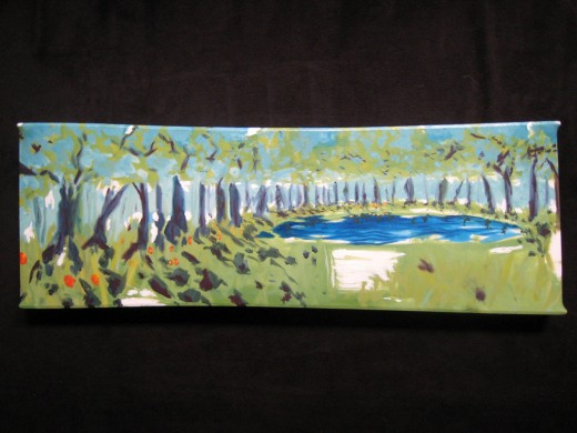 "Oil on linen stretched over repurposed wood. 36"" x 11"" x 2"" 2009"