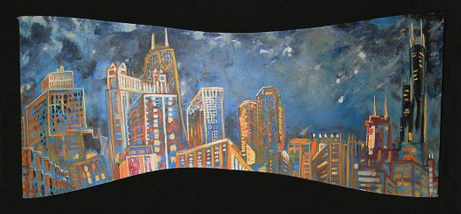 "Oil on canvas stretched over repurposed wood. 78"" x 34"" x 4"" 2007"