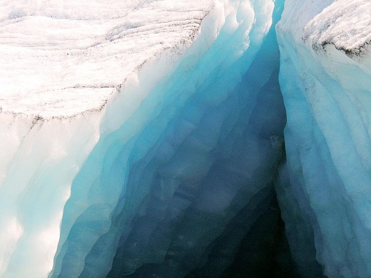 A large crack in the toe of the melting Brige Glacier