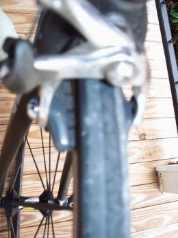 Notice the very thin gap between brake pad and rim.