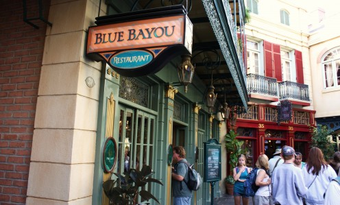 This popular restaurant overshadows the recessed entrance to Club 33. The private club is upstairs above the Blue Bayou, and stretches across the New Orleans Square walkways.