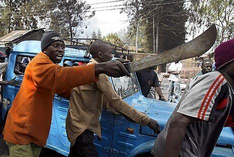 The machete is a popular assault weapon in Africa. Tribal wars are very bloody and deadly.