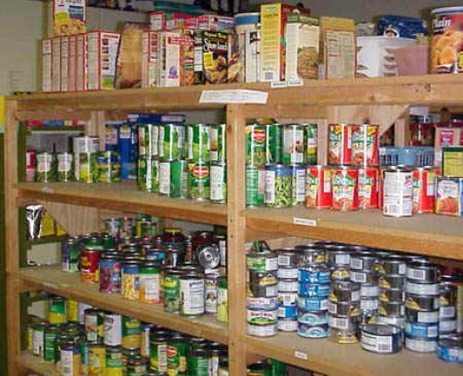 A set of shelves in a spare room, basement or garage can store a healthy duration of food if rationed properly.