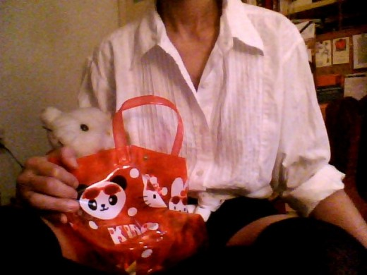 This is me holding my Hello Kitty bag and Hello Kitty plush doll.