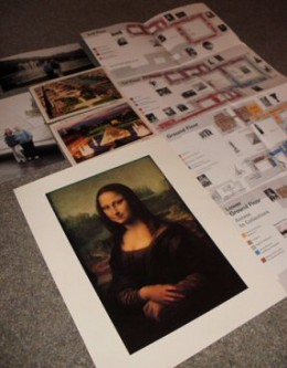 My Louvre souvenirs - a map, postcards, pictures of my best friend and I outside the Louvre, and a Mona Lisa print I bought in the Louvre gift shop