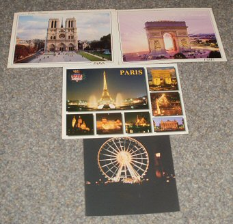 My Paris postcards and a photograph I took of the Grande Roue de Paris.