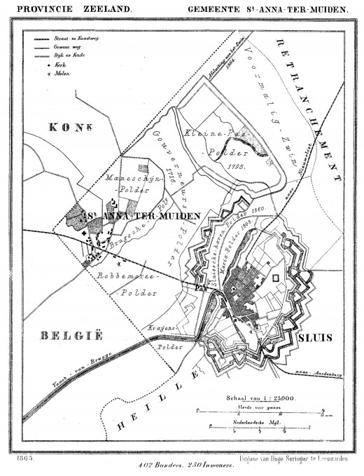 1865 map showing Sint Anna ter Muiden