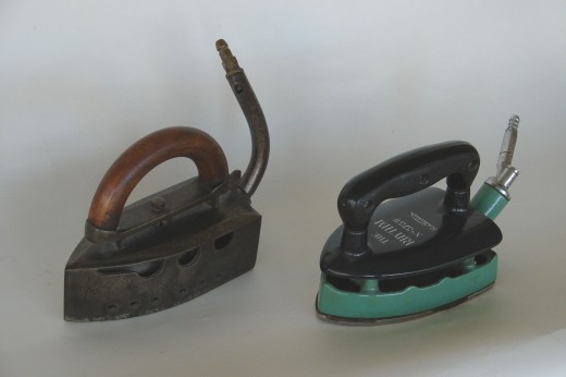 (L) early Coal gas iron. (R) British Natural Gas iron from 1950's