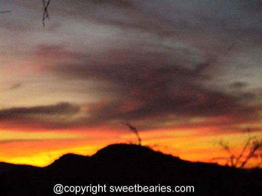 A vibrant sunset in the San Bernardino Mountains.