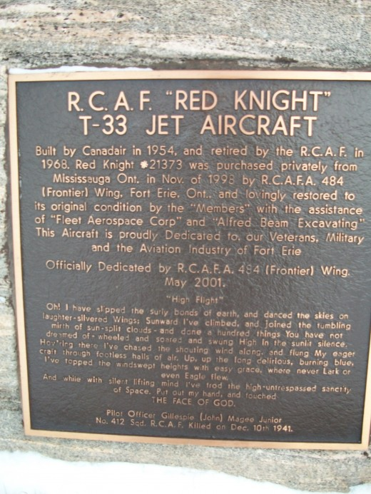 Historical plaque re. T-33 airframe on display