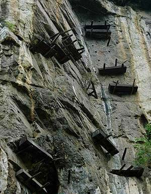 Ba coffins on cliff side of Yangtze River