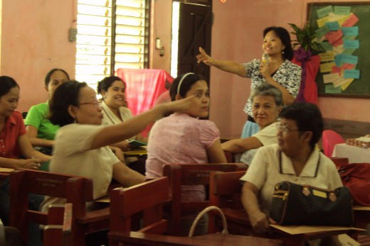 PROMPT AND COMPOSED. High School Teachers of Buhi congregate to learn the rudiments of the National Competency Based Teacher Standards last February 2011.