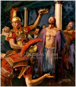 The soldiers mock Jesus.