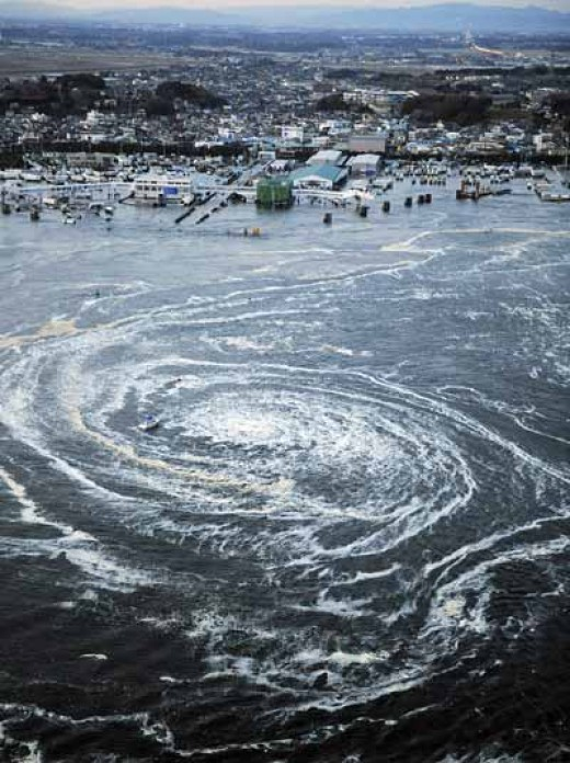 Whirlpool created after water level rose up to 33 feet