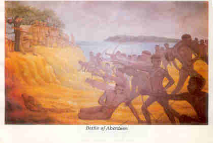an artist's illustration on the great andamanese battle against the British