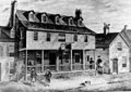 Sketch of the Tun tavern in the revolutionary War.Birthplace of the Continental Marines