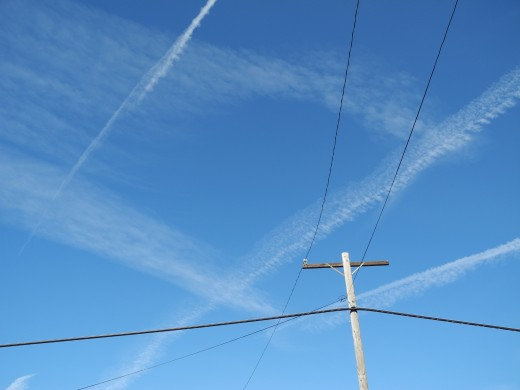 Chemtrail Grid pattern shot above the electrical power lines, San Diego.